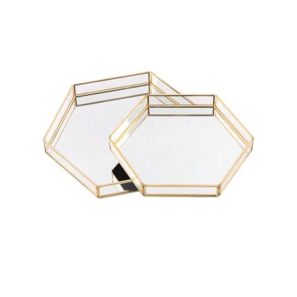 Bandeja espejada hexagonal